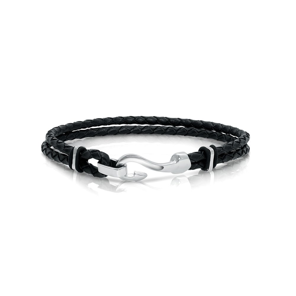 Bracelet - Braided leather & Stainless steel with hook closure