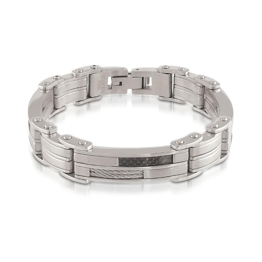 Men's bracelet - Stainless steel & carbon fiber