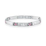 Women's bracelet - Stainless steel & Pink cubic zirconia