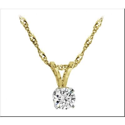Pendentif sertis d'un diamant solitaire 0.40 Carat - Or 2-tons 14k - Chaine incluse