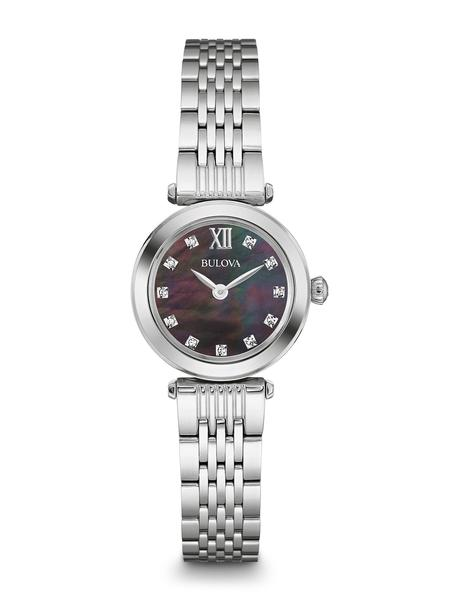 watch with quartz movement for women - Black mother-of-pearl dial with mineral crystal accented with diamonds