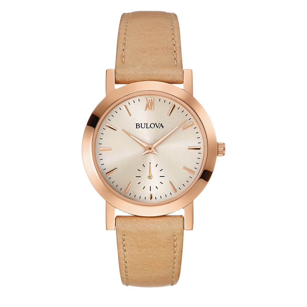 watch with quartz movement for women - Light grey dial & Leather strap