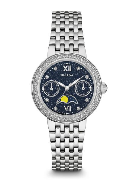 watch with quartz movement for women - Blue dial with mineral crystal
