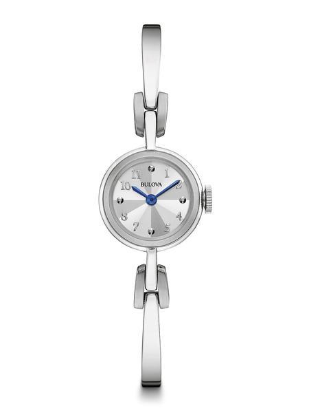 watch with quartz movement for women - Silvery-white dial & Bangle bracelet