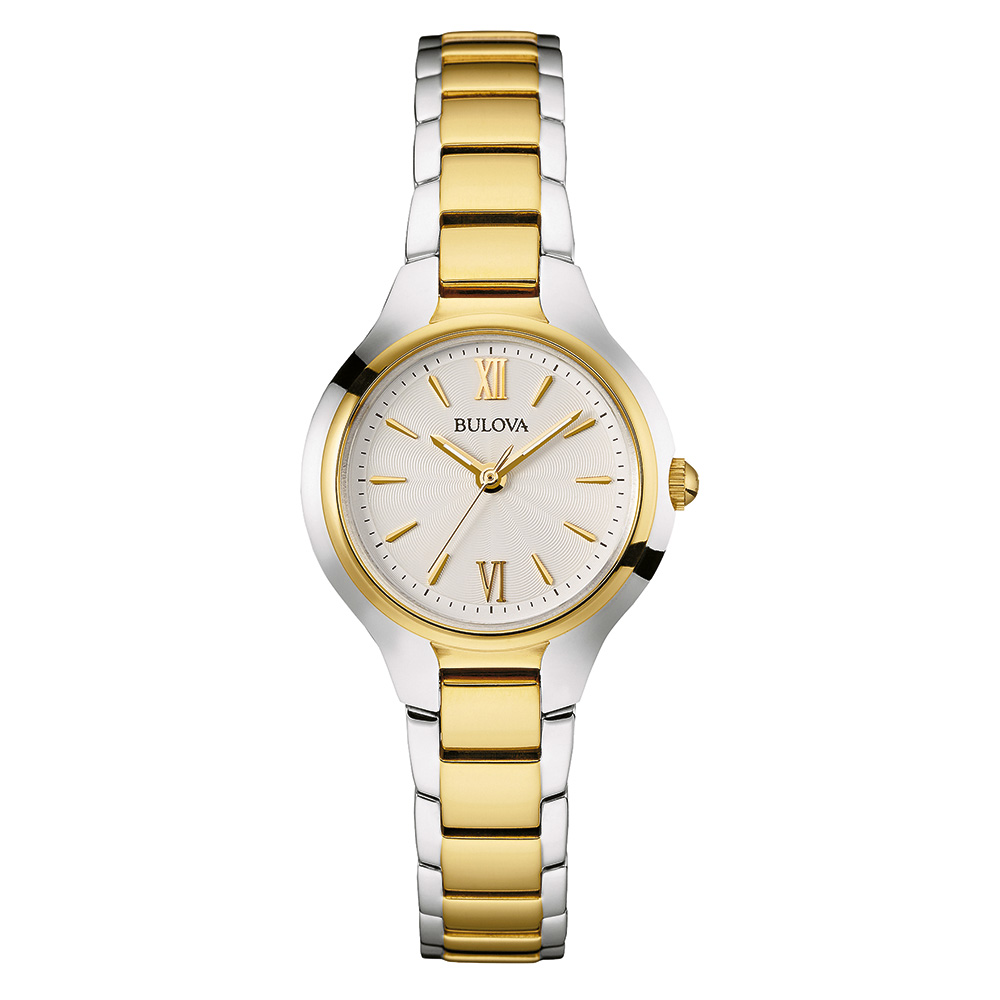 watch with quartz movement for women - Silver-white dial with mineral crystal