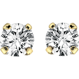 Stud Earrings - 14K yellow Gold & Diamonds 5pts.