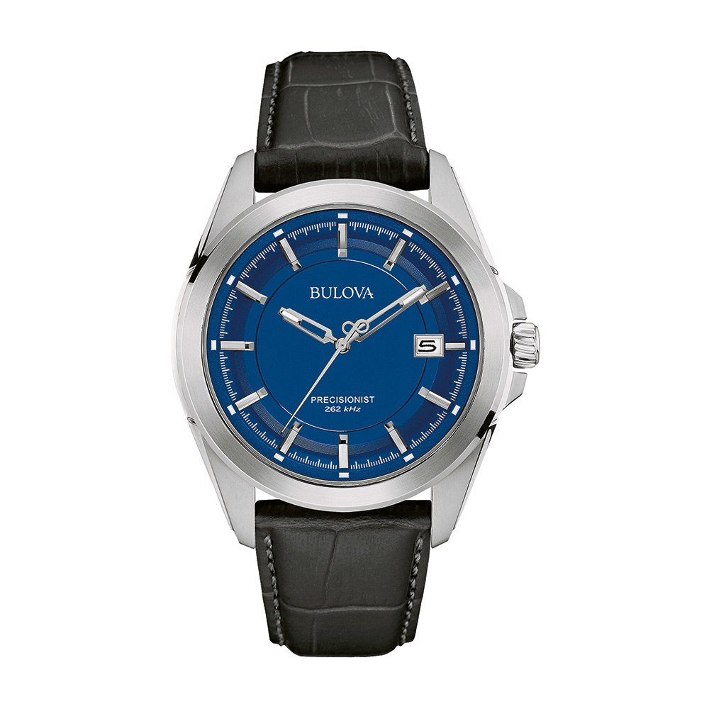 Precisionist watch for men - Blue dial with mineral crystal and black leather strap