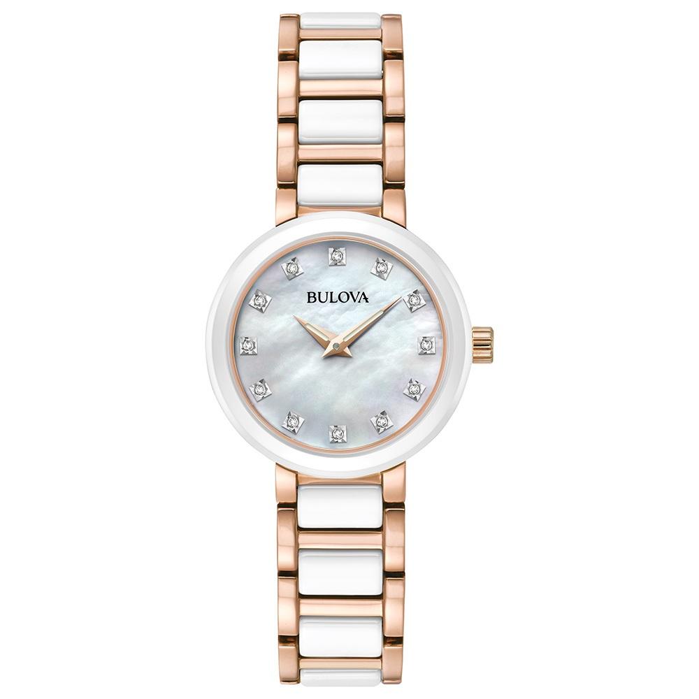 Montre Bulova pour femme - Cadran nacré avec céramique blanche sur bracelet et boitier