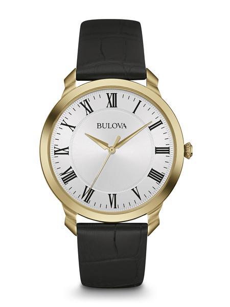 Montre Bulova à quartz pour hommes - Cadran blanc avec verre minéral & Bracelet en cuir noir