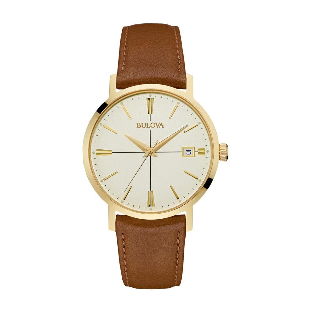 Montre Bulova à quartz pour hommes - Bracelet en cuir brun