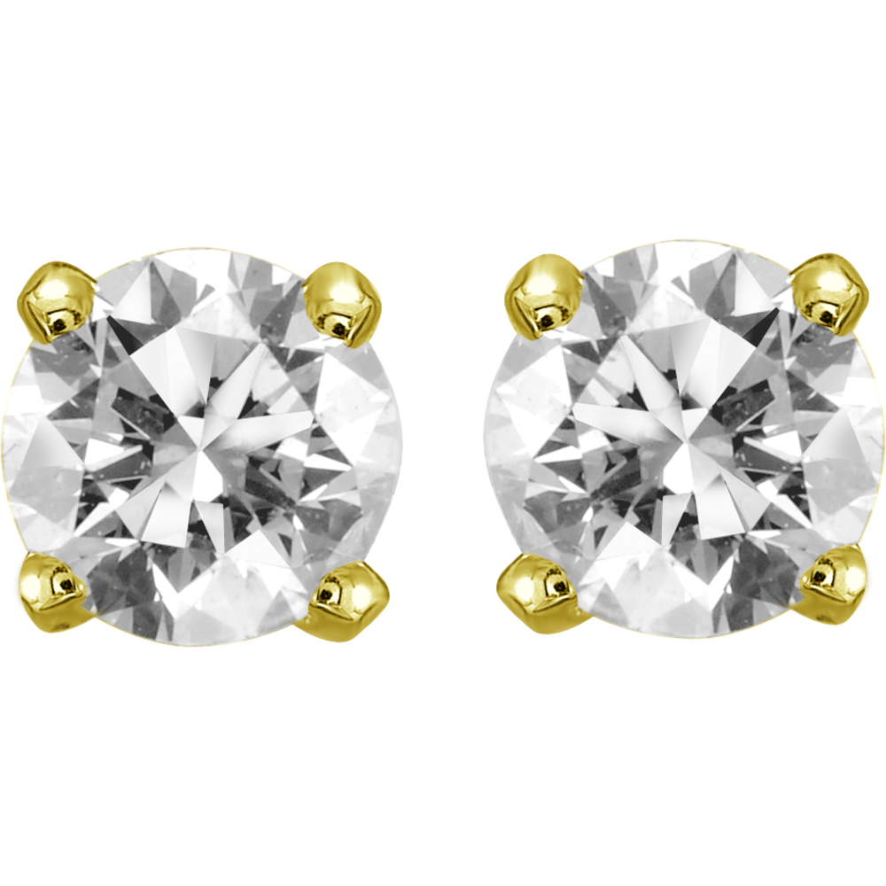 Boucles d'oreilles tiges fixes - Or jaune 14K & Diamants 2 x0.10 Carat