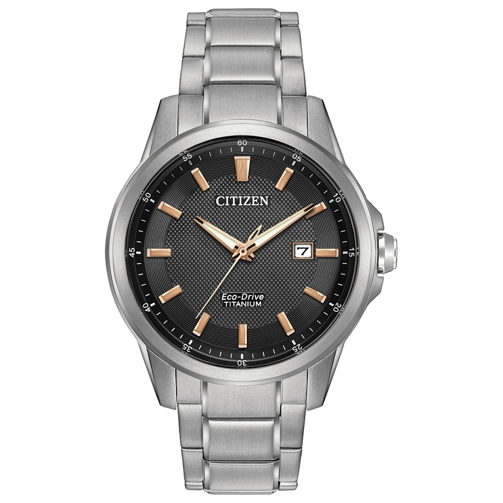 Eco-Drive watch for men - Black dial with sapphire crystal