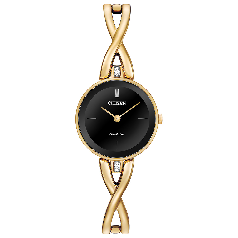Eco-Drive watch for women - Black dial with mineral crystal & bangle bracelet