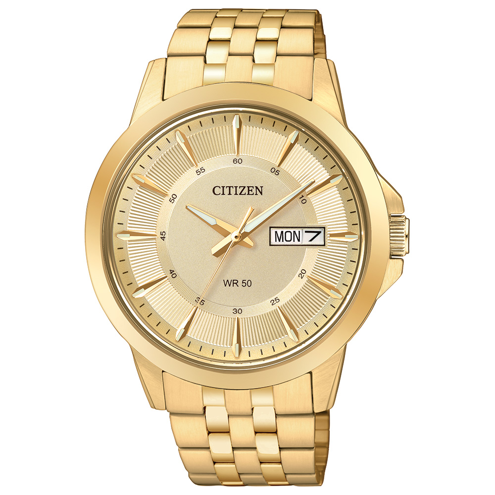 Men's Citizen quartz watch  - Gold dial with mineral crystal