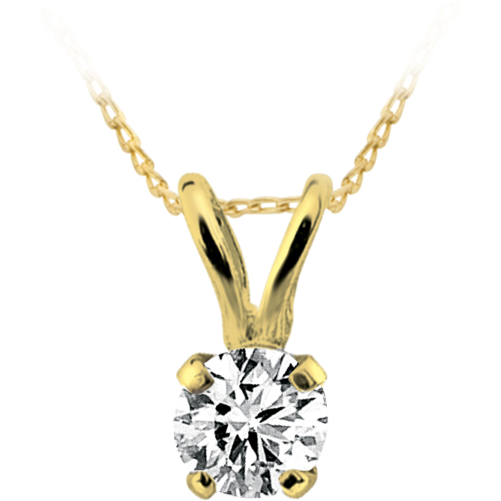 Solitaire diamond pendant 0.05 Carats T.W. Clarity:I Color:GH -in 14K yellow gold - Chain not included - small enough for a child