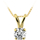 Solitaire diamond pendant 0.05 Carats T.W. in 14K yellow gold - Chain not included - small enough for a child