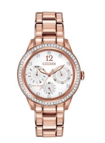 Eco-Drive watch for women - White dial with mineral crystal