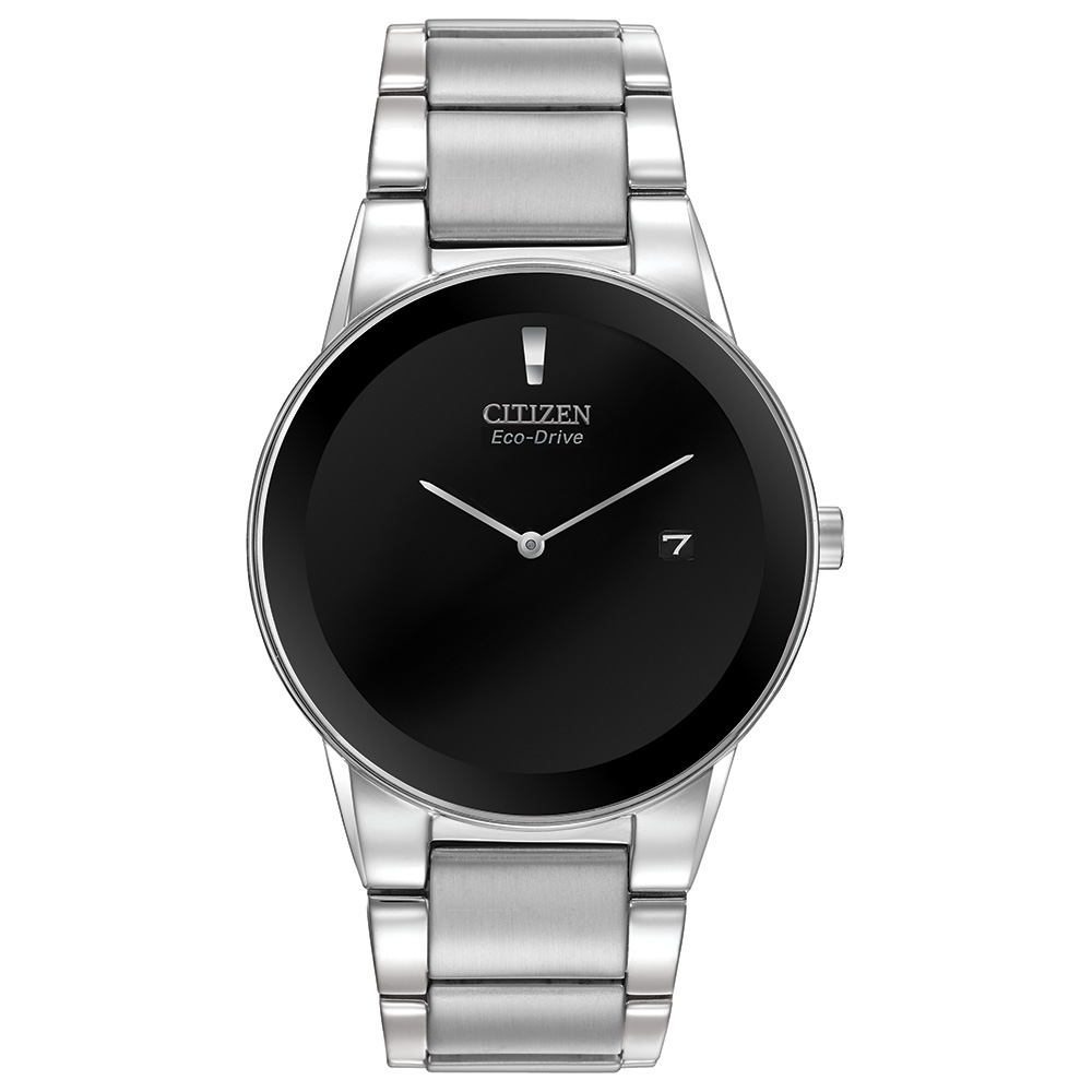 Eco-Drive watch for men - Black dial with mineral crystal