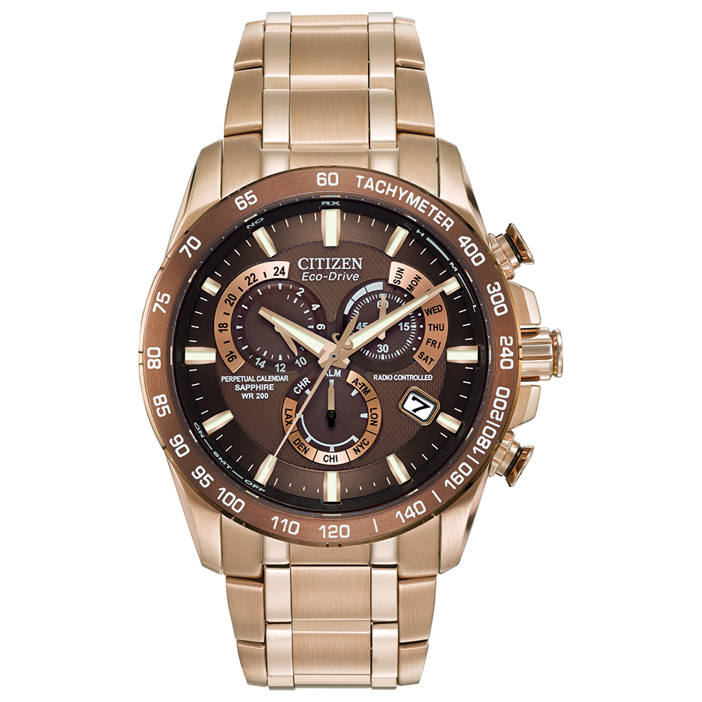 Eco-Drive watch for men - Brown dial with sapphire crystal