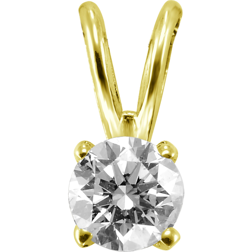 Solitaire diamond pendant 0.10 Carats T.W. - 14K yellow gold