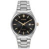 Eco-Drive watch for men - Black dial with mineral crystal  - Functions: Date