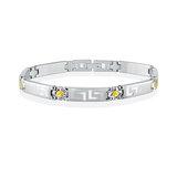 Women's bracelet - Stainless steel & Orange cubic zirconia (month of November)