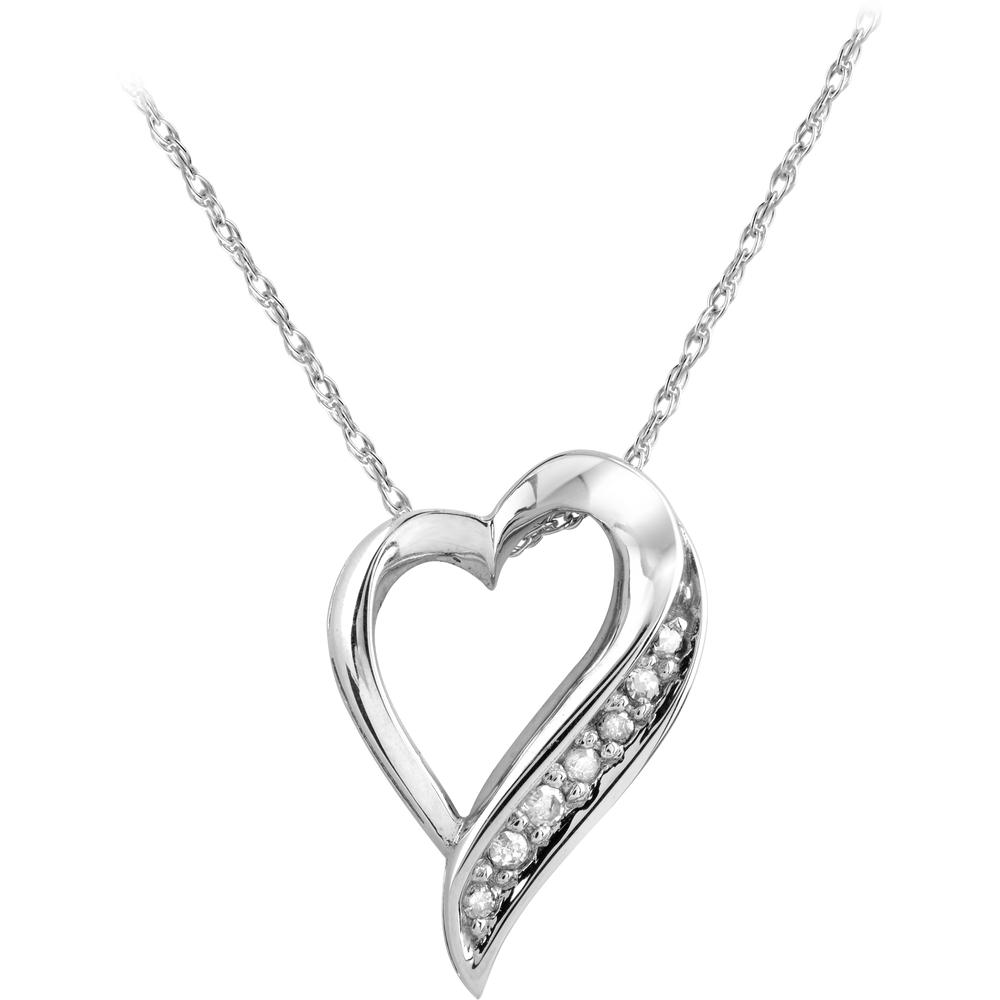Pendentif coeur - Or blanc 10K & Diamants totalisant 6pts