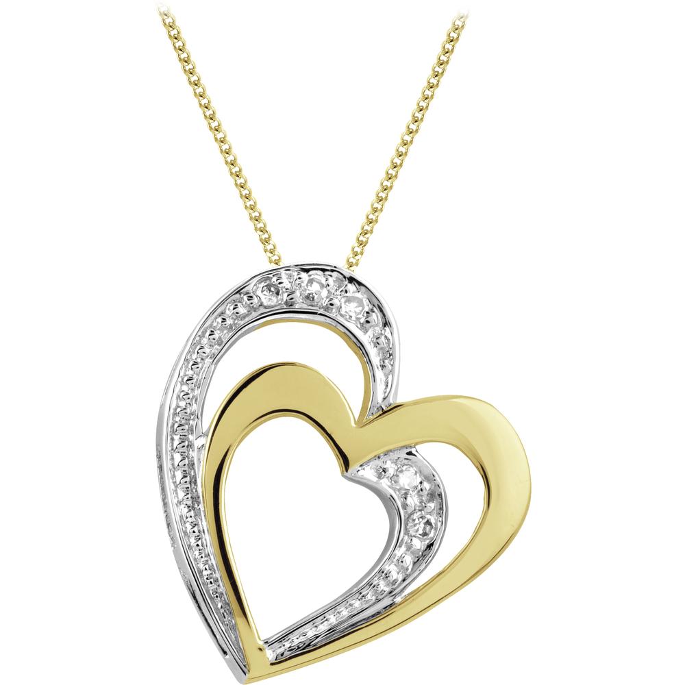 Pendentif coeur - Or 2-tons 10K (jaune et blanc) & Diamants totalisant 3pts