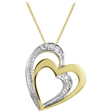 Heart pendant - 10K 2-tone Gold (yellow and white) & Diamonds 0.03 Carat T.W.