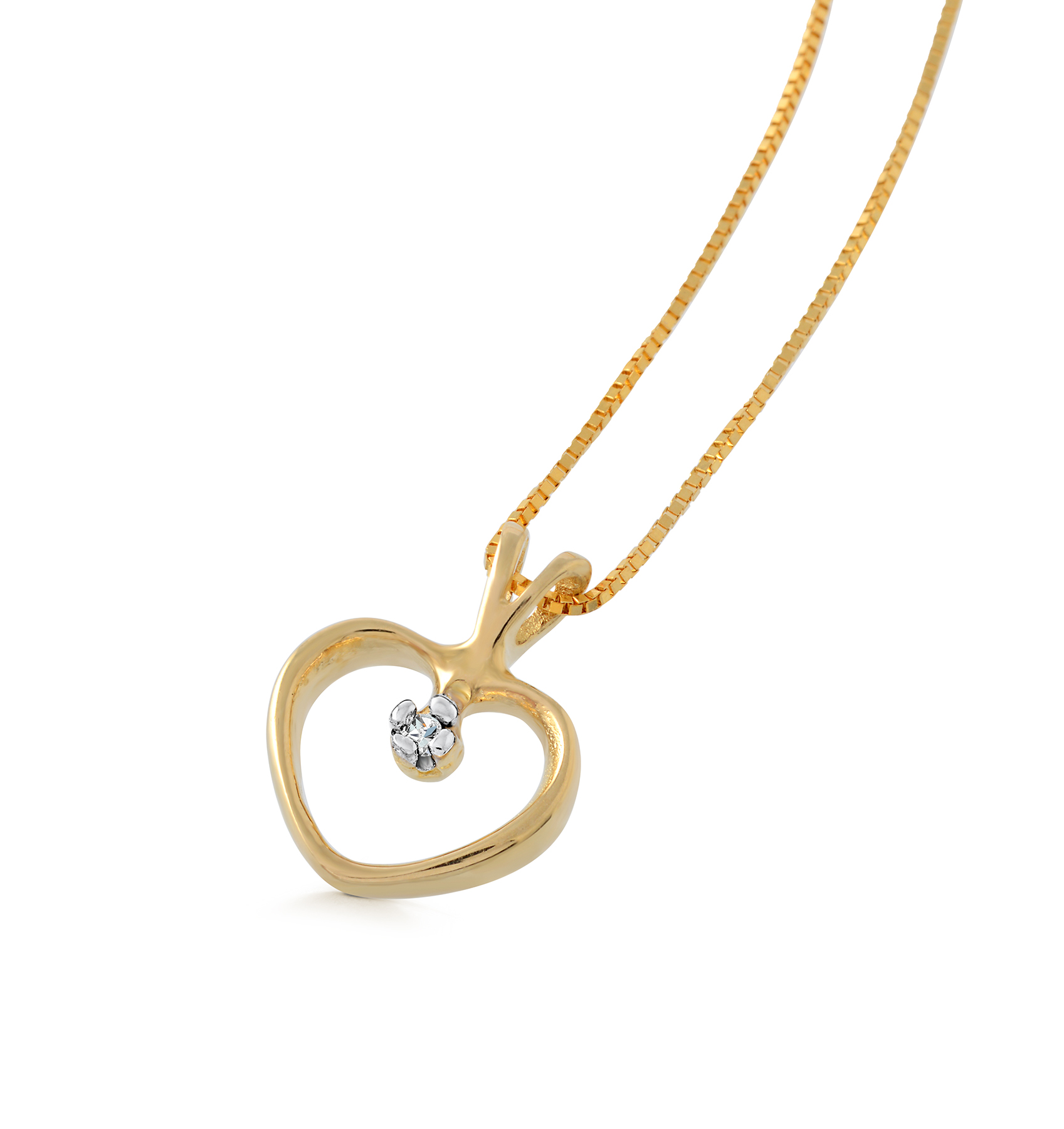 Small heart pendant with a diamond accent - in 10K yellow gold - chain included