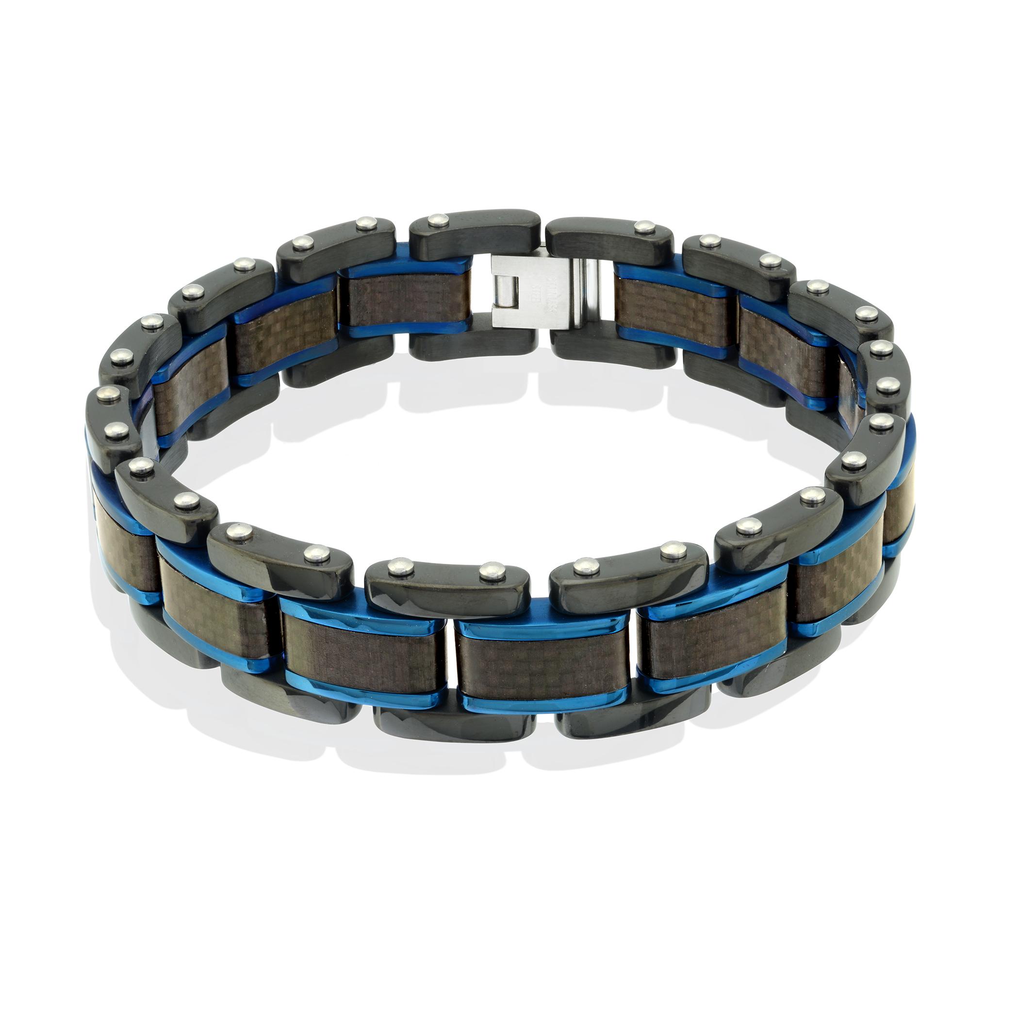 Men's bracelet - 2-tone stainless steel & black carbon fiber