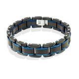 Bracelet pour homme - Acier inoxydable 2-tons & fibre de carbone noir