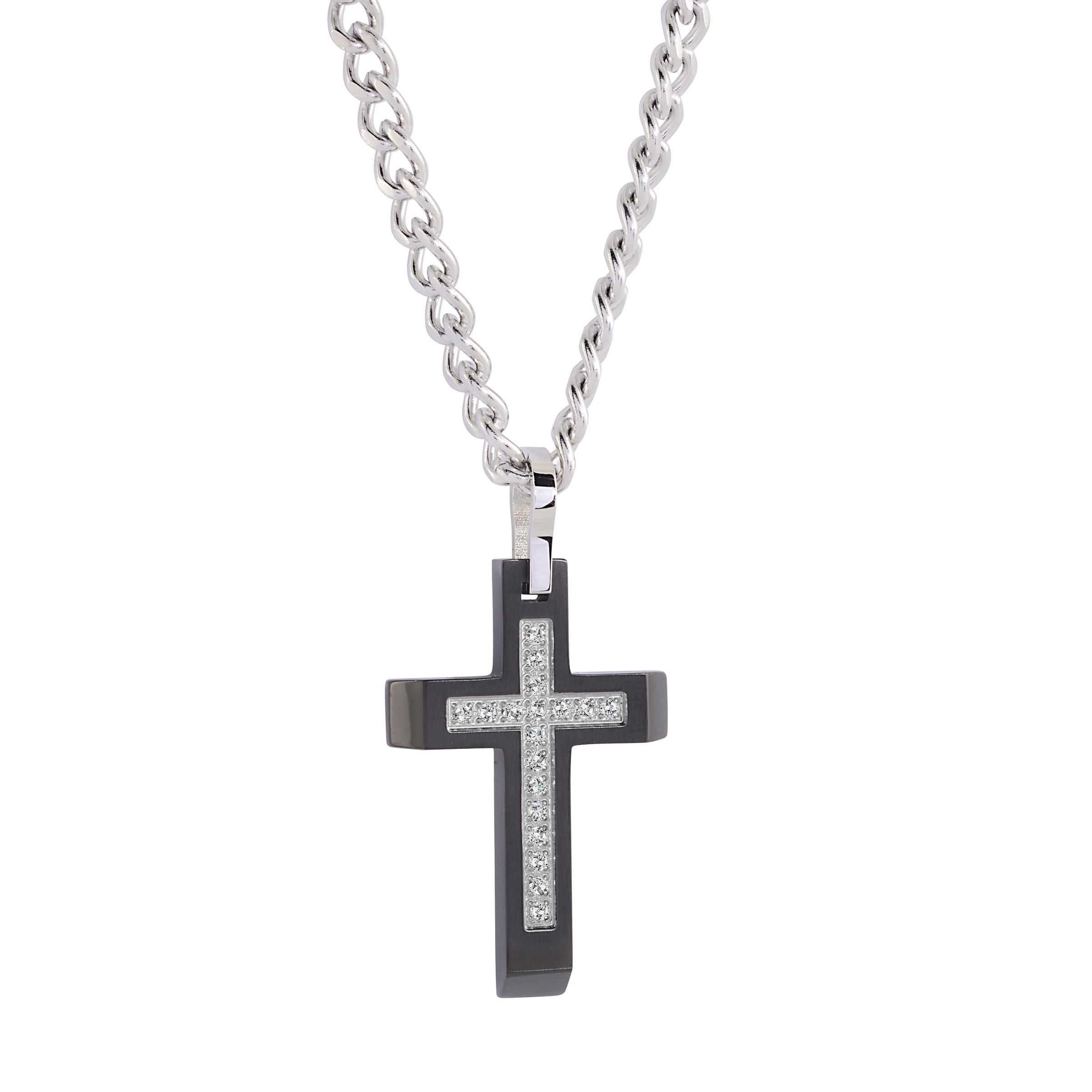Cross pendant - Stainless steel & Cubic zirconia