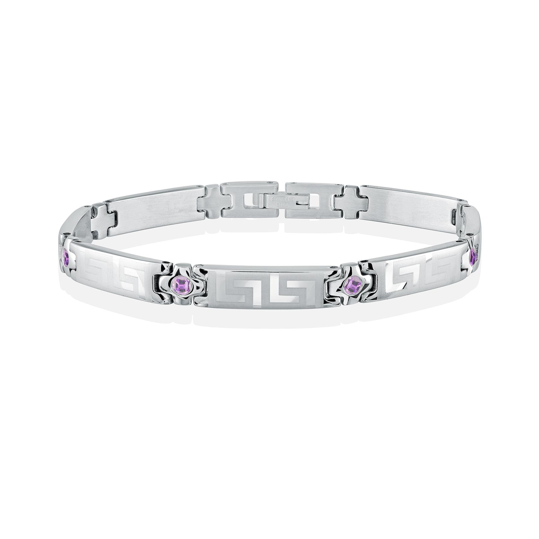 Women's bracelet - Stainless steel & Purple cubic zirconia (month of February)