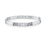 Women's bracelet - Stainless steel & Purple cubic zirconia (month of February)