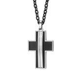 Cross pendant - 2-tone stainless steel