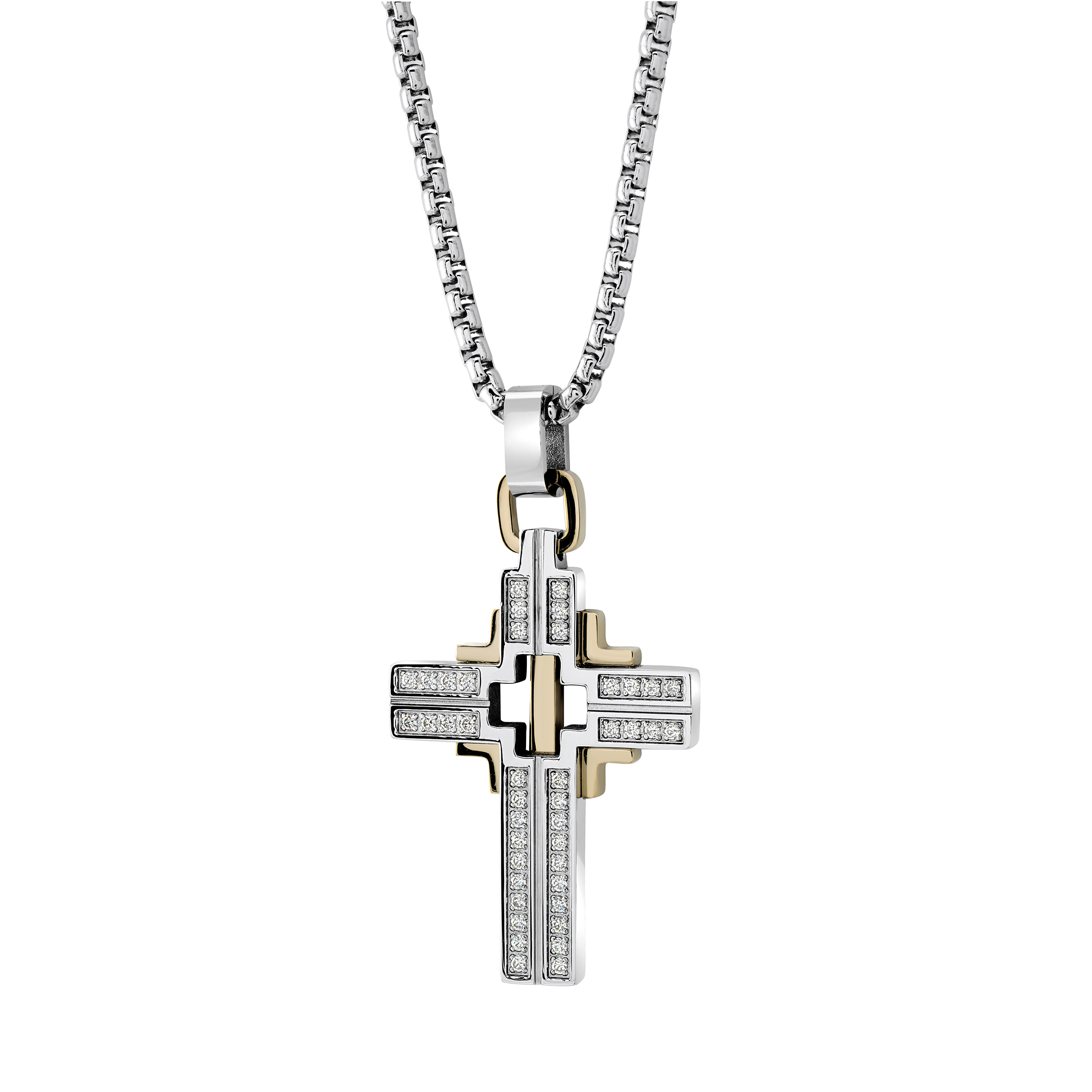 Cross pendant - 2-tone stainless steel & Cubic zirconia