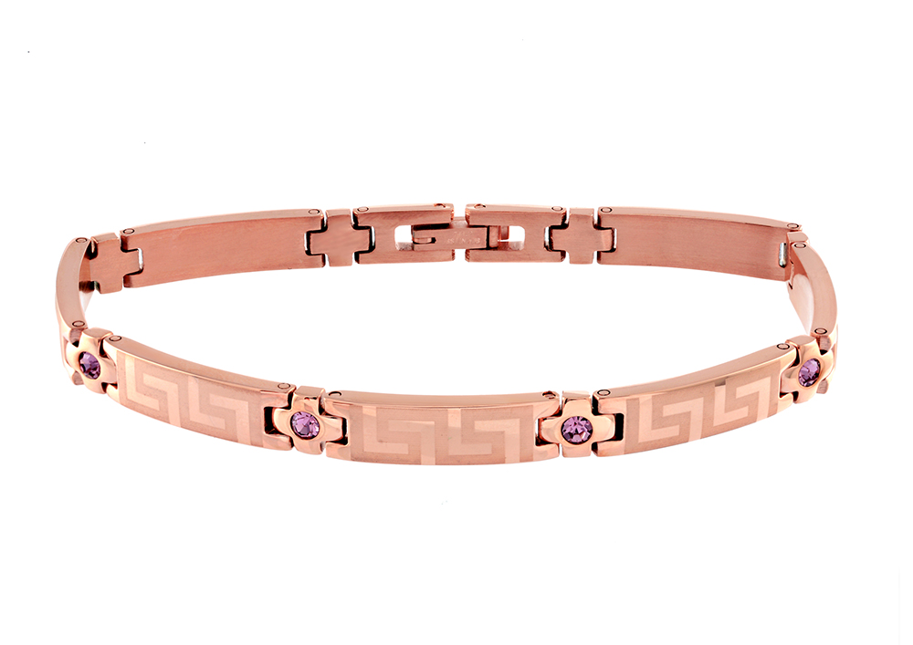 Bracelet for women - Pink stainless steel & purple cubic zirconia (month of February)