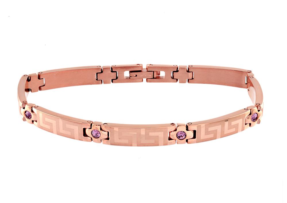 Bracelet pour femme - Acier inoxydable rose & Zircons cubiques mauves (mois de Février)