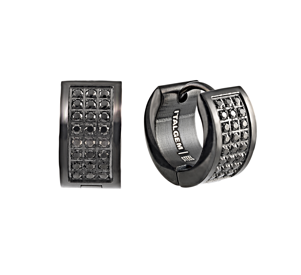 Huggies earrings - Black stainless steel & Black cubic zirconia