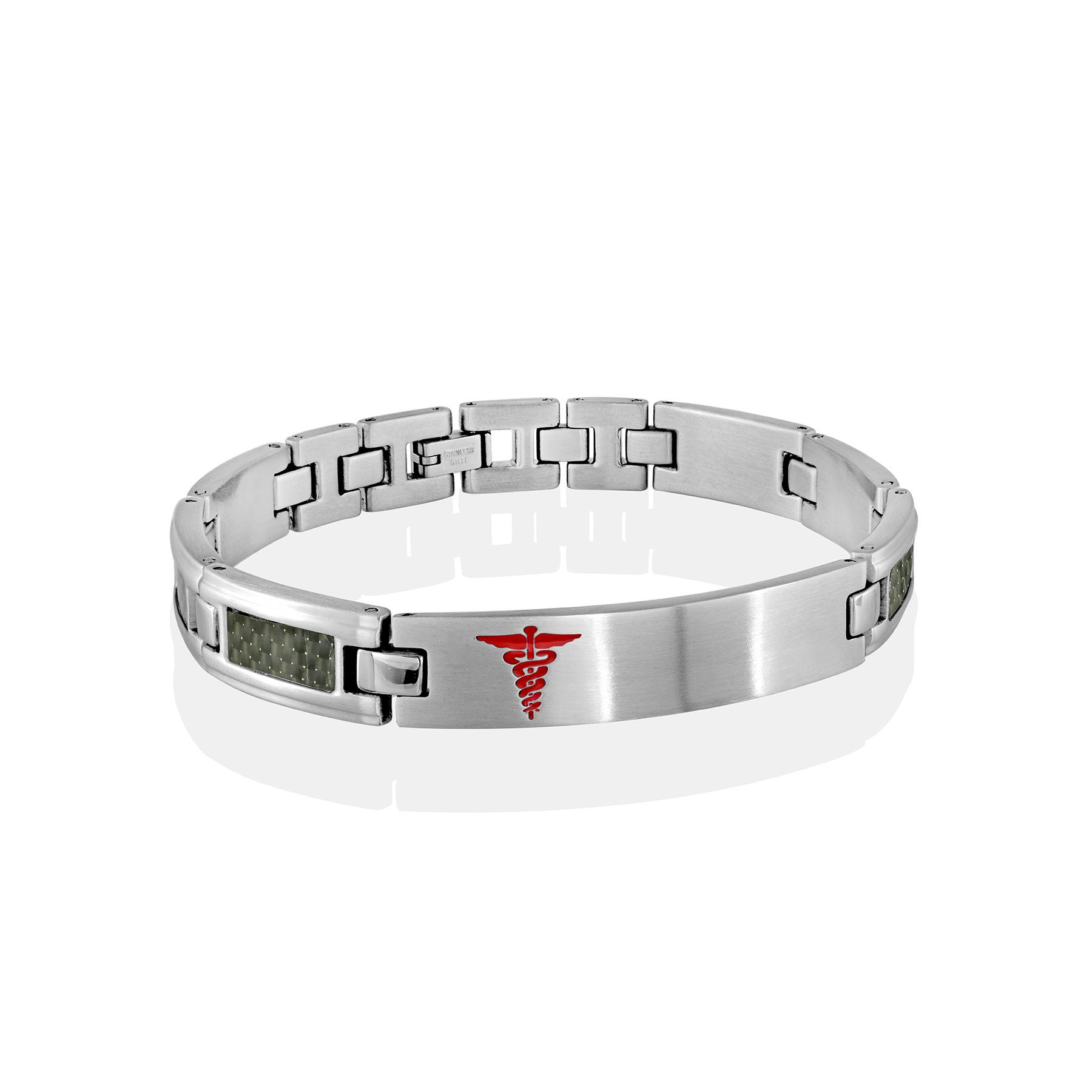 Medical bracelet - Stainless steel & carbon fiber