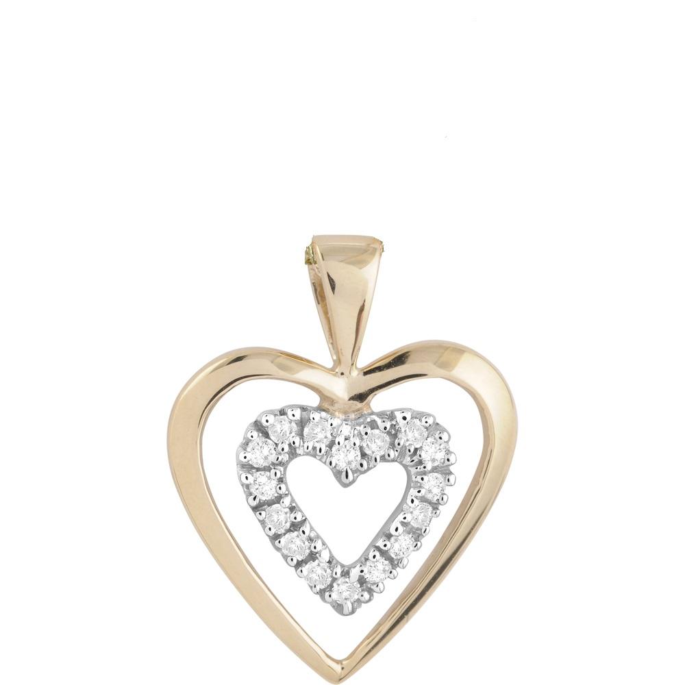 Pendentif double coeurs sertis de diamants totalisant 0.10 Carats Pureté:I Couleur:GH - en or jaune 10K