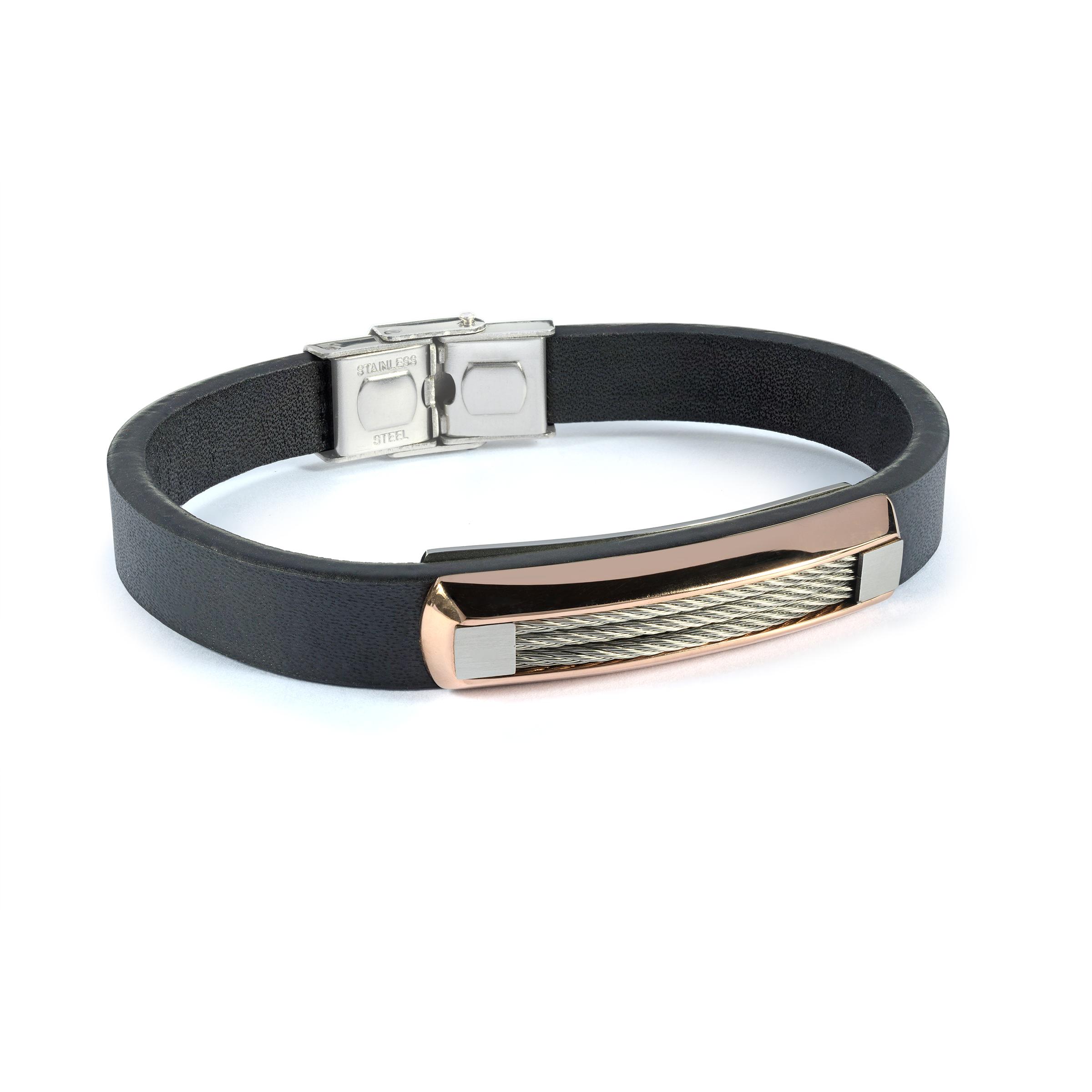 Bracelet en cuir - Acier inoxydable 2 tons & Câbles