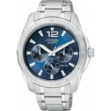 watch for men - Blue dial with quartz movement and mineral crystal - Functions: Day/Date