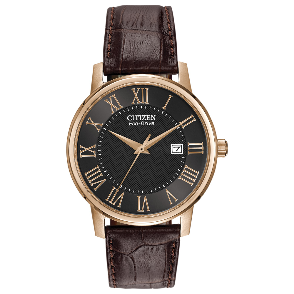 Eco-Drive watch for men - Black dial with mineral crystal and brown leather strap - Functions: Date
