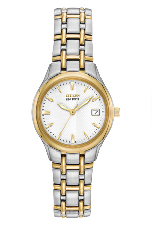 Eco-Drive watch for women - White dial with mineral crystal - Functions: Date