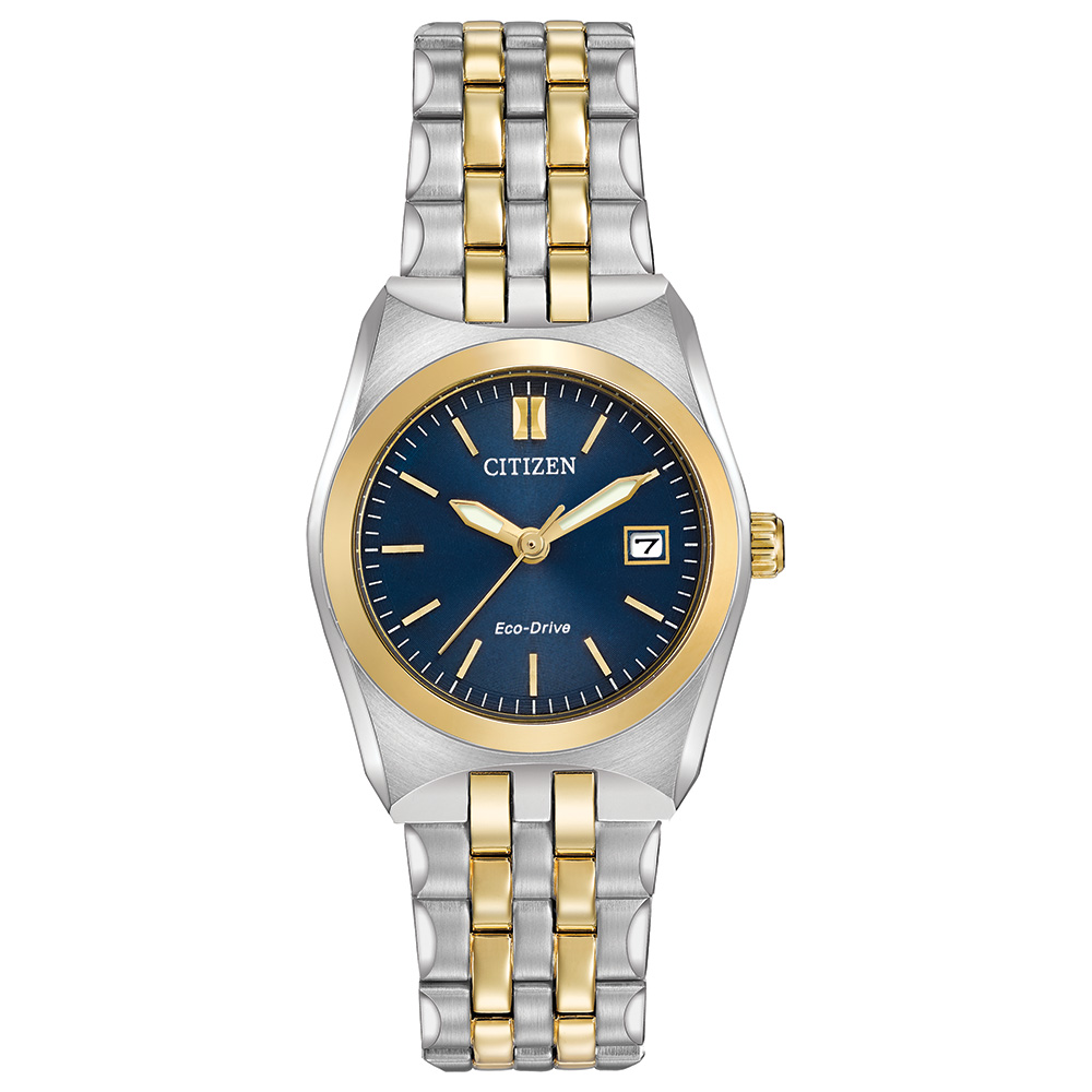Eco-Drive watch for women - Blue dial with mineral crystal