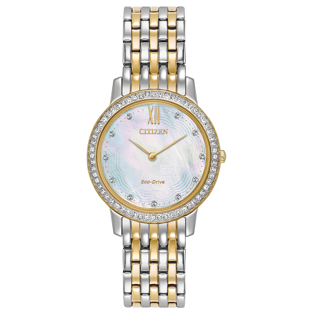 Eco-Drive watch for women - Mother-of-pearl dial with sapphire crystal
