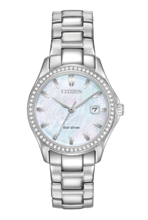 Eco-Drive watch for women - Mother-of-pearl dial with mineral crystal