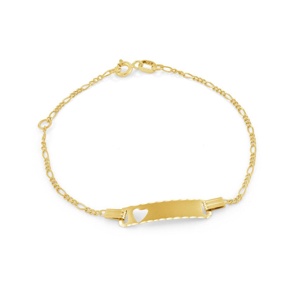 Bracelet d'identité avec découpe de coeur pour enfants - Or jaune 10K